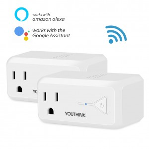 WiFi Smart Plug, Mini Wireless Smart Socket Outlet, App Remote or Voice Control with Amazon Alexa Echo & Google Home, Timing Founction, Occupies Only One Socket, No Hub Required(Pack of 2 White)