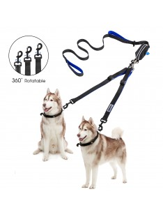 Double Dog Leash Coupler No Tangle with Pouch Bag
