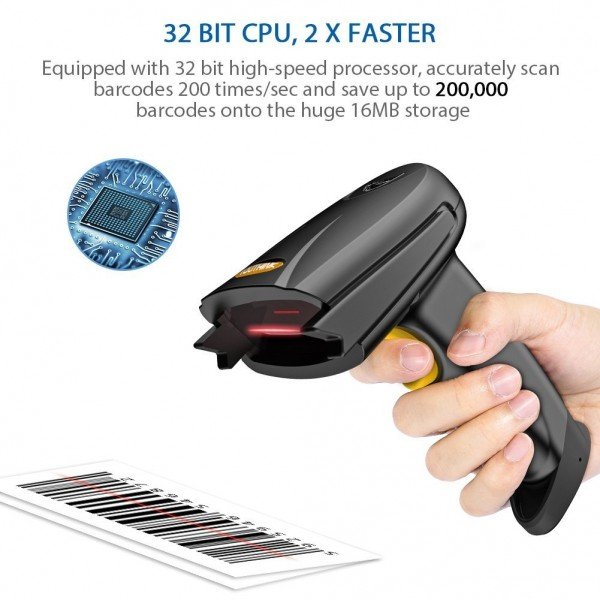 Wireless Bluetooth 4 0 & USB 3 0 Wired Barcode Scanner,1D